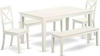 East West Furniture CABO5C-LWH-W Capri Set, Linen White
