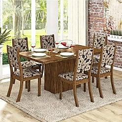 Viero Conjunto para Sala de Jantar Mesa e 6 Cadeiras Viero Dulce Avelã/Medina