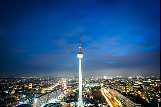 Noir Gallery The Berlin TV Tower at Night Metal Wall Art - TO-06-MP-08