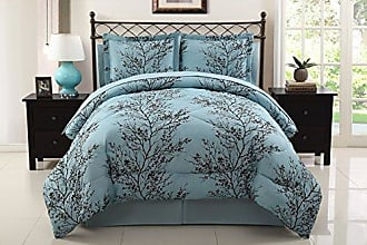 VCNY Home VCNY Leaf 8-Piece Bed-In-Bag Set, Queen, Blue/Chocolate