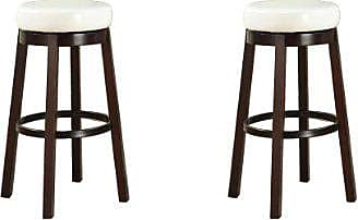 Round Hill Furniture Wooden Swivel Barstools, Bar Height, Snow White, Set of 2