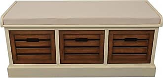 Decor Therapy Melody Three Drawer Bench with Cushion, White Honeynut
