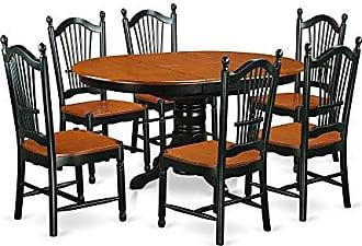 East West Furniture KEDO7-BCH-W Dining Set, 7 Pieces, Black/Cherry