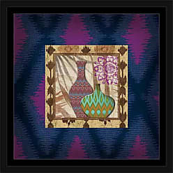 EAZL Modern Moroccan Textured Ikat Patterned Pots Vessels Still Life Medallion Painting Blue & Purple, Framed Canvas Art by Pied Piper Creative