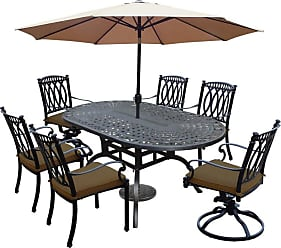 Oakland Living Outdoor Oakland Living Morocco Aluminum 9 Piece Patio Dining Set with Oval Table Brown - 7214T-7215C4-7216S2-D54-45CPBK-36-15-AB