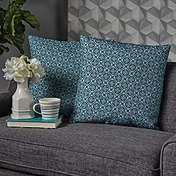 Christopher Knight Home 302765 Gerard Blue and Green Print Fabric Throw Pillow (Set of 2)