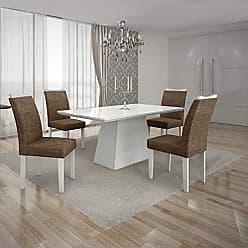 Leifer Conjunto Sala de Jantar Mesa Tampo MDF/Vidro Branco 4 Cadeiras Pampulha Leifer Branco/Linho Marrom