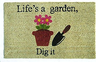Geo Crafts Vinyl Back Lifes a Garden Doormat