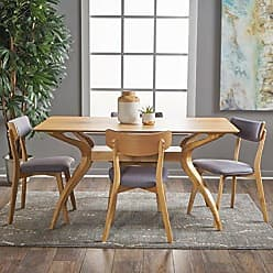 GDF Studio Christopher Knight Home 301329 Nerron Mid Century Natural Oak Finished 5 Piece Wood Dining Set with Dark Grey Fabric Chairs