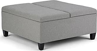 Simpli Home Simpli Home AXCOT-266-LGL Ellis 36 inch Wide Contemporary Square Storage Ottoman in Dove Grey Linen Look Fabric