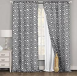 Duck River Textile CYRA FLOCKED SINGLE SHEER POLE TOP PANEL/WHITE-BLACK, 54 X 84, White & Black