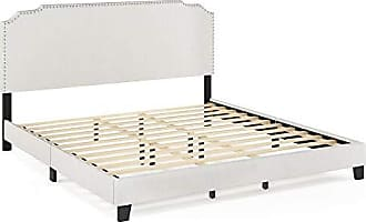 Furinno FB18014K-BG Nadia Nailhead Trim Bed Frame, King, Gray
