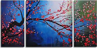 Omax Decor Stormy Cherry Tree 3-Piece Canvas Wall Art - 48W x 24H in. - M 2028