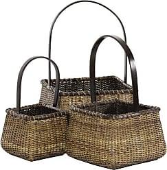 Oriental Furniture Rattan Square Handle Basket ( Set of 3 )
