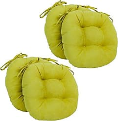 Blazing Needles Solid Microsuede Round Tufted Chair Cushions (Set of 4), 16, Mojito Lime