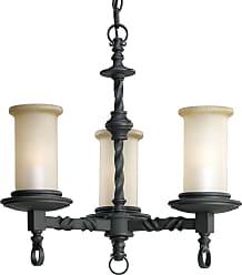 PROGRESS P4586-80 Thomasville Lighting Three-light chandelier in Forged Black finish with jasmine mist glass