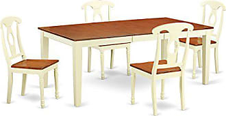East West Furniture QUKE5-WHI-W 5 Piece Table with 4 Solid Wood Chairs Set