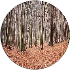 DESIGN ART Designart Leaves in The Thick Fall Forest Large Metal Wall Art- Disc of 23, 23 H x 23 W x 1 D 1P, Brown