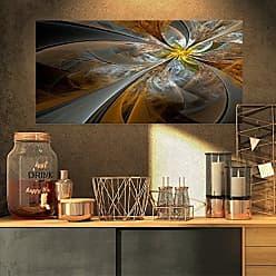 DESIGN ART Designart Symmetrical Yellow Fractal Flower-Digital Art Canvas Print-32x16, 32x16