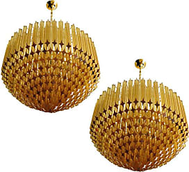 VENINI Pair Of Quadriedri Murano Glass Chandelier, 265 Amber Prism, Gold Frame
