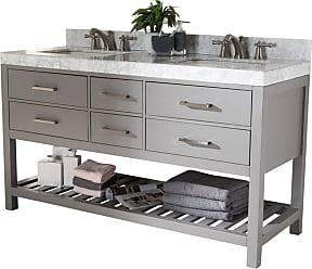 Baxton Studio Yolanda 60 in. Double Sink Bathroom Vanity - YOLANDA-60-SLATE GREY