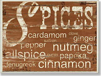 The Stupell Home Décor Collection Stupell Home Décor Spices And Words Brown Kitchen Wall Plaque, 10 x 0.5 x 15, Proudly Made in USA