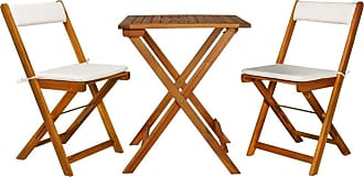 Overstock vidaXL Solid Acacia Wood Bistro Set Cushioned Folding Patio Garden Table Chair