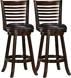 CorLiving Woodgrove 30 Leather Bar Stool in Cappuccino (Set of 2)