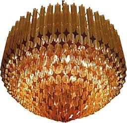 VENINI Quadriedri Murano Glass Chandelier, 265 Amber Prism, Gold Frame