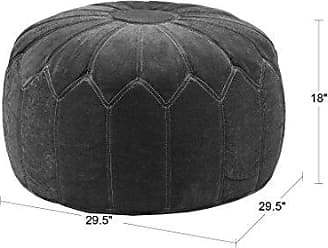 Madison Park FPF18-0169 Kelsey Round Floor Pillow Pouf Large-Soft Fabric, Polystyrene Beads Fill Ottoman Foot Stool - 1 Piece Mid-Century Modern Floral Design Oversized Beanbag, Brown
