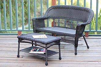 Jeco W00201-LCS Wicker Patio Love Seat and Coffee Table Set Without Cushion, Espresso