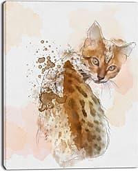 DESIGN ART Designart PT13587-12-20 Cute Cat Sketch with Brown SplashesModern Animal Canvas Wall Art 20 H x 12 W x 1 D 1P