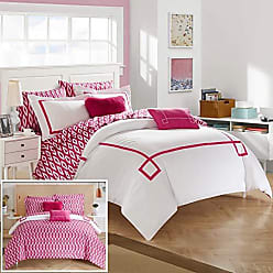 Chic Home 9 Piece Trace Bedding Set, King Comforter, Fuchsia