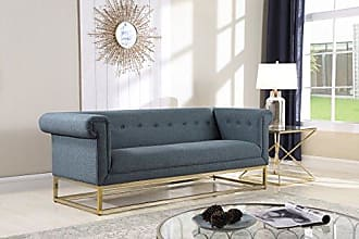 Iconic Home Palmira Sofa Button Tufted Linen-Textured Plush Cushion Brass Finished Brushed Metal Base Frame, Modern Transitional, Blue