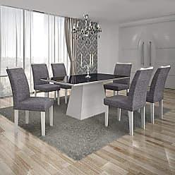 Leifer Conjunto Sala de Jantar Mesa Tampo MDF/Vidro Preto 6 Cadeiras Pampulha Leifer Branco/Linho Cinza