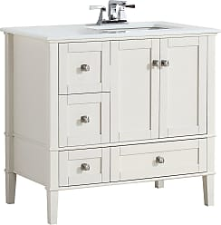 Simpli Home Chelsea 36 inch Right Offset Bath Vanity in Off White with White Engineered Quartz Marble Top