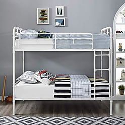 Walker Edison WE Furniture AZTOTMPGW Bunk Bed, Twin, White/Grey Wash