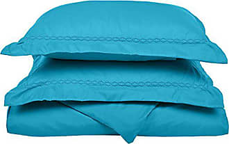 Superior Super Soft Light Weight, 100% Brushed Microfiber, King/California King, Wrinkle Resistant, Aqua Duvet Cover Set with Cloud Embroidered Pillowshams in Gift Box