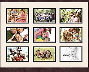 Art to Frames Double-Multimat-75-824/89-FRBW26061 Collage Frame Photo Mat Double Mat with 9-6x4 Openings and Espresso Frame