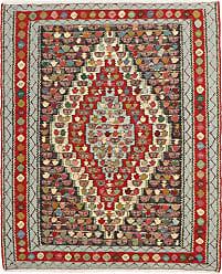Nain Trading Persian Kilim Senneh Rug 51x42 Dark Grey/Beige (Hand-Knotted, Iran/Persia, Wool)