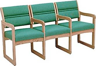 Wooden Mallet DW1-3 Valley 3-Seat Chair with Center Arms, Medium Oak/Powder Blue