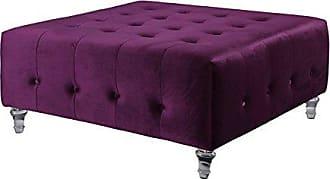 Iconic Home Samson Modern Purple Velvet Button Tufted Acrylic Ottoman