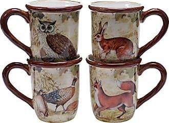 Certified International 25702SET/4 Rustic Nature Mugs (Set of 4), 16 oz, Multicolor