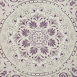 Madison Park Elise 100% Cotton Percale Boho Floral Botanical Motif Medallion Chic Printed Bathroom Shower Curtain, 72X72 Inches, Purple/Ivory