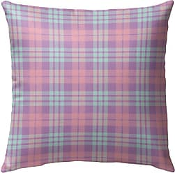 Kavka Designs Coffee Donut Pink Plaid Outdoor Pillow - OPI-OP16-16X16-NOR121