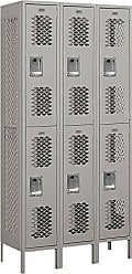 Salsbury Industries Assembled 2-Tier Vented Metal Locker with Three Wide Storage Units, 6-Feet High by 15-Inch Deep, Gray