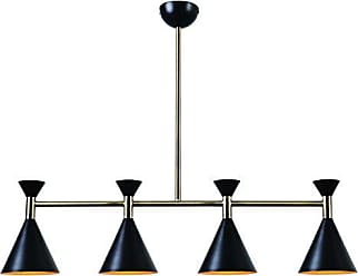 Kenroy Home Arne 4 Island Light, Matte Black/Antique Brass