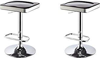 Round Hill Furniture I-Stool ABS Adjustable Swivel Barstools, Black, Set of 2