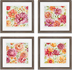 WEXFORD HOME Warm Afternoon Spring Collection Flower Print 4 Panels Set Framed Décor for Home Office Wall Art, 15X15, Burly Wood