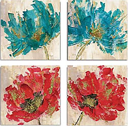 WEXFORD HOME Red Infusion Flower Spring Collection Canvas Print 4 Panels Set Décor for Home Office Wall Art, 24X24, Frameless